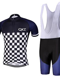 QKI Piano Pro Cycling Jersey with Bib Shorts Men's Short Sleeve BikeBreathable / Quick Dry/Anatomic Design/reflective stripe/5D coolmax gel pad