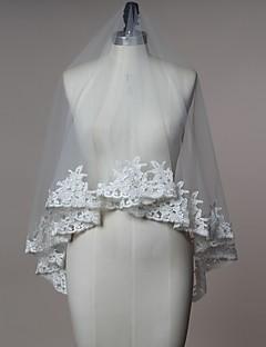 웨딩 면사포 한층 블러셔 베일 팔꿈치 베일 손가락 베일 레이스처리된 가장자리 명주그물