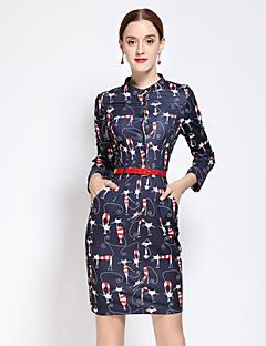 Kadın Günlük/Sade Sevimli Kılıf Elbise Desen,¾ Kol Uzunluğu Yuvarlak Yaka Diz üstü Mavi Suni İpek / Polyester Sonbahar Normal Bel Esnemez