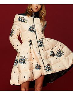 Damen Daunen Mantel,Lang Sexy Einfach Ausgehen Lässig/Alltäglich Urlaub Solide-Polyester Weiße Entendaunen Langarm Rundhalsausschnitt