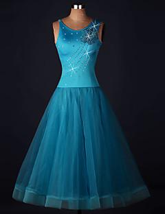 Dança de Salão Vestidos Mulheres Actuação Elastano / Organza Apliques / Cristal/Strass / Flor(es) 1 Peça Sem Mangas Alto VestidosS-XXXL: