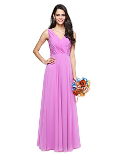 2017 Lanting bride® podlahy Délka šifónové družička elegantní šaty - a-linie Výstřih s lukem (y)