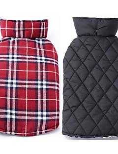 pejsky Kabáty Kamizelka Červená Zelená Hnědá Béžová Oblečení pro psy Zima Jaro/podzim Kostkovaný Oboustranný Zahřívací