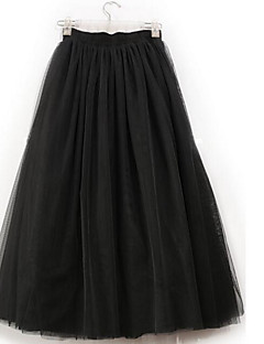 Women's A Line Solid Tulle Skirts,Going out Cute Mid Rise Midi Elasticity Polyester / Spandex Micro-elastic Summer