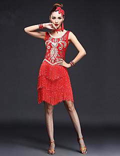 Dança do Ventre Roupa Mulheres Actuação Elastano Cristal/Strass / Paetês / Borla(s) 3 Peças Sem Mangas Alto Luvas / Vestidos One Size=95cm
