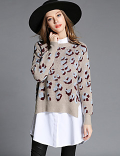 MEIDONGTAI Women's Casual/Daily Simple Regular PulloverPrint Beige Round Neck Long Sleeve Cotton / Polyester Fall Medium Stretchy