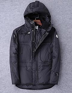 Muži Standardní S vycpávkou Šik ven Svatba Jednobarevné-Kabát Bavlna Bavlna Dlouhý rukáv Košilový límec Černá