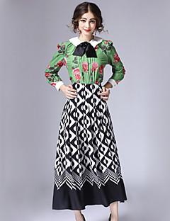 Bomull / Polyester Grønn Medium Langermet,Skjortekrage Sett Skjørt Drakter Geometrisk Vinter Vintage Fritid/hverdag Dame