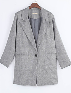 여성의 솔리드 스퀘어 넥 긴 소매 블레이져,빈티지 / 귀여운 그레이 면 가을 중간