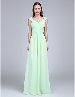 LAN TING BRIDE Floor-length V-neck Bridesmaid Dress - Lace-up Sleeveless Chiffon