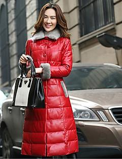 Women's Long Down Coat,Street chic Casual Solid-Lambskin Polypropylene Long Sleeve Shirt Collar Red / Black