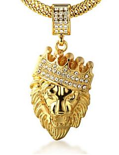 Pánské Náhrdelníky s přívěšky imitace drahokamu Crown Shape Animal Shape Lev Zlaté Umělé diamanty 18K zlatá Slitina Rock Přizpůsobeno
