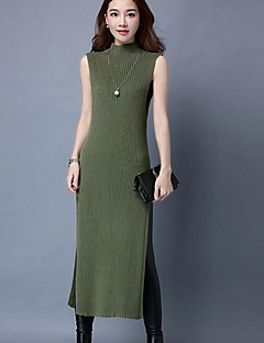 Women's Casual/Daily Simple Sweater Dress,Solid Turtleneck Midi Sleeveless Gray / Green Cotton Fall / Winter Mid Rise Stretchy Medium