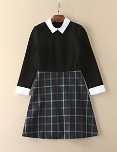 Kadın Dışarı Çıkma / Günlük/Sade / Tatil Vintage / Sade A Şekilli Elbise Ekose,Uzun Kollu Gömlek Yaka Diz üstü Siyah PamukluSonbahar /