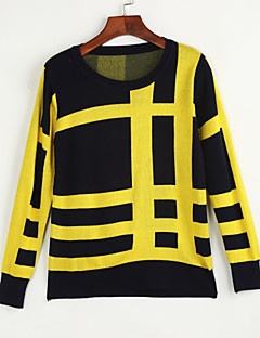 Women's Casual/Daily Simple / Street chic Color Block All Match Fashion Regular Pullover Print Round Neck Long Sleeve