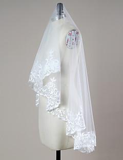 웨딩 면사포 한층 블러셔 베일 손가락 베일 레이스처리된 가장자리 명주그물