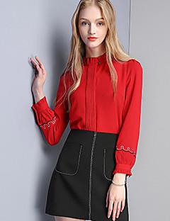 Feminino Camisa Social Casual Simples Outono,Sólido Vermelho Preto Poliéster Decote Redondo Manga Longa