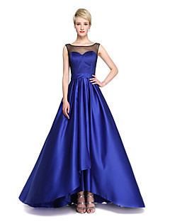 2017 Lanting Bride® Asymmetrical Satin Open Back See Through Bridesmaid Dress - A-line Jewel with Sash / Ribbon Bow(s) Pleats