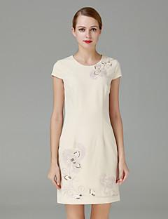 Damen Hülle Kleid-Lässig/Alltäglich Einfach Stickerei Rundhalsausschnitt Übers Knie Langarm Weiß Polyester Herbst Mittlere Hüfthöhe