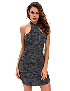 Dámské Sexy Klub Bodycon Šaty Jednobarevné,Bez rukávů Tričkový Mini Černá Polyester / Spandex Léto High Rise Elastické Tenké