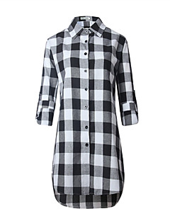 Women's Plus Size / Going out / Casual/Daily Sexy / Vintage / Simple Spring / Fall Shirt,Check Shirt Collar Long Sleeve White / Black