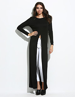 Women's Going out / Casual/Daily Sexy Swing DressSolid Round Neck Maxi Long Sleeve Gray Polyester Summer