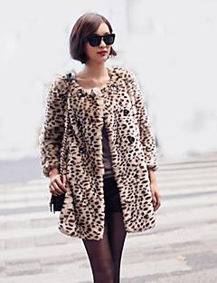 Feminino Casaco de Pêlo Casual Moda de Rua Inverno, Leopardo Marrom Pêlo Sintético Decote Redondo-Manga Longa Média
