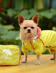 Dog Rain Coat Dog Clothes Waterproof Solid Yellow Ruby Blue