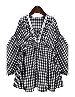 משובץ דמקה צווארון V פשוטה חמוד ליציאה יום יומי\קז'ואל חג חולצה נשים שרוול ארוך שחור פוליאסטר