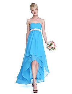 Lanting Bride® א-סימטרי שיפון גב פתוח שמלה לשושבינה  - גזרת A מחשוף לב עם סרט / קפלים