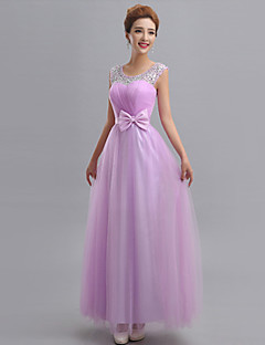 Floor-length Tulle Mix & Match Sets Bridesmaid Dress - Sheath / Column One Shoulder withAppliques / Beading / Bow(s) / Sash / Ribbon /