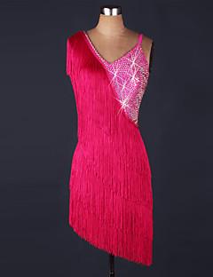 Skal vi latin danse kjole kvinder præstation organza perle kjole