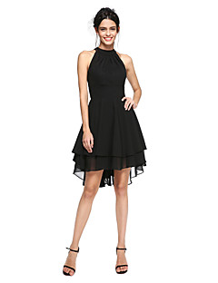 2017 TS Couture® Prom Cocktail Party Dress - Little Black Dress A-line High Neck Asymmetrical Chiffon with Pleats
