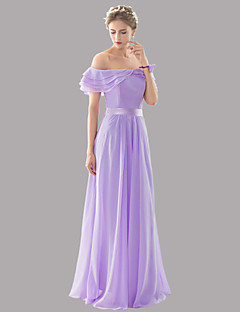 Floor-length Chiffon Bridesmaid Dress - Elegant A-line Bateau with Sash / Ribbon