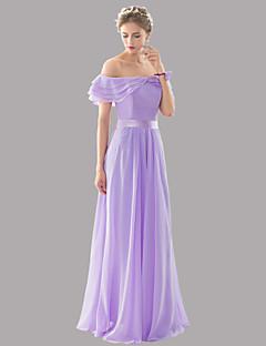 Na zem Šifón Elegantní Krásná záda Šněrování Otevřená záda Sexy Šaty pro družičky - A-Linie Bateau s Šerpa / Stuha