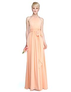 Lanting Bride® Na zem Šifón Šaty pro družičky - Pouzdrové Klenot Větší velikosti / Malé s Šerpa / Stuha / Sklady