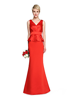 2017 Lanting Bride® Floor-length Stretch Satin Beautiful Back Bridesmaid Dress - Trumpet / Mermaid V-neck with Sash / Ribbon Pleats