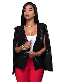 여성 솔리드 카울 넥 긴 소매 블레이져,섹시 / 스트리트 쉬크 파티/칵테일 / 클럽 블랙 폴리에스테르 봄 / 가을