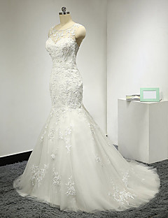 Trumpet / Mermaid Wedding Dress Beautiful Back Sweep / Brush Train Scoop Tulle with Appliques