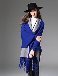 Normal Cloak / Capes Fritid/hverdag Enkel Dame,Ensfarget Blå / Sort / Grå / Grønn V-hals Tre-kvart ermer Bomull / Polyester Høst Medium
