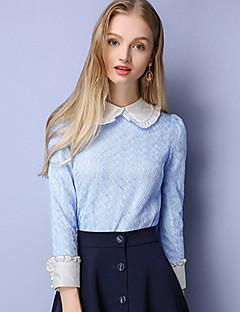 Dames Eenvoudig Herfst Overhemd,Casual/Dagelijks Kleurenblok Overhemdkraag Lange mouw Blauw Katoen Polyester