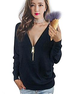 Bomull Blå / Rosa / Sort Medium Langermet,V-hals T-skjorte Ensfarget Vår / Høst Sexy Fritid/hverdag / Plusstørrelser Dame