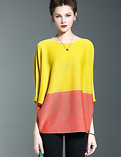 SHYSLILY Women's Casual/Daily Simple Fall T-shirtColor Block Round Neck  Sleeve Red Yellow Purple Polyester