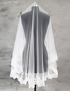 Wedding Veil One-tier Blusher Veils Fingertip Veils Lace Applique Edge Scalloped Edge Tulle Lace