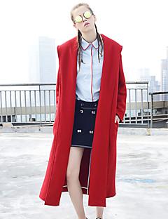 Damen Solide Einfach Lässig/Alltäglich Mantel,Herbst Winter Hemdkragen Langarm Rot Wolle Polyester