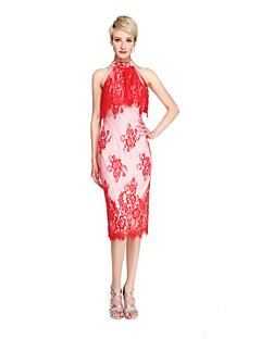 Lanting Bride® באורך  הברך תחרה אלגנטי שמלה לשושבינה  - מעטפת \ עמוד צווארון גבוה עם קפלים