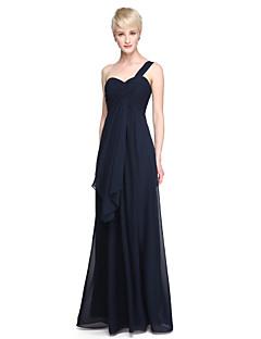 Lan ting noiva andar de comprimento chiffon vestido de dama de honra - bainha / coluna um ombro mais tamanho / petite