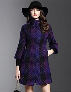 Feminino Casaco Casual Simples Outono Inverno, Geométrica Azul Roxo Algodão Poliéster Colarinho de Camisa-Manga ¾ Média