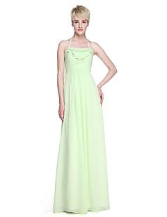 Lanting Bride® עד הריצפה שיפון גב יפהפייה שמלה לשושבינה  - מעטפת \ עמוד קולר עם סלסולים