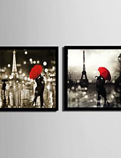 Emberek / Építészet Bekeretezett vászon / Bekeretezett szett Wall Art,PVC Fekete Háttéranyag nélkül a Frame Wall Art